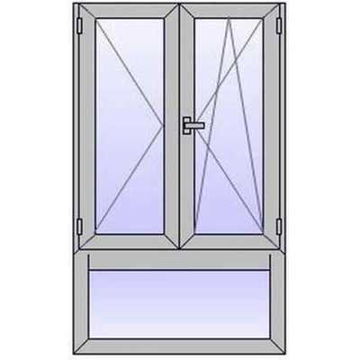 A219 Fenetre ALU 2 vantaux+Imposte vitre bas