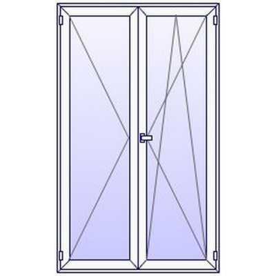 P16PN Porte fenetre PVC 2 vantaux