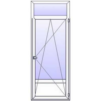 P198PN  Porte fenetre PVC 1 vantail + plein bas + imposte