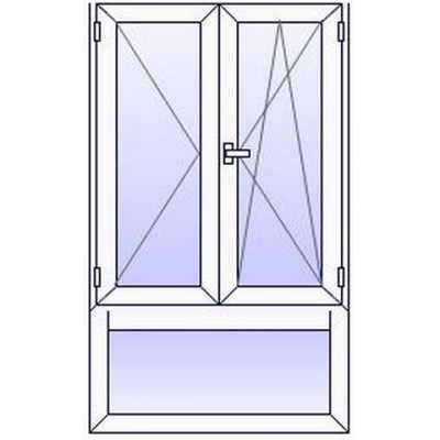 P44PR Fenetre PVC 2 vantaux+Imposte vitre bas