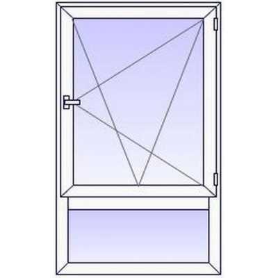 P266PR Fenetre PVC 1 vantail+Imposte vitre bas