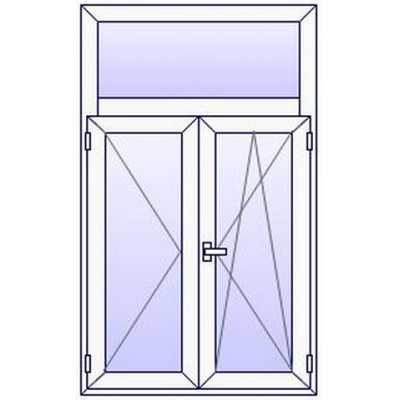 P41PN Fenetre PVC 2 vtx+Imposte vitre haute