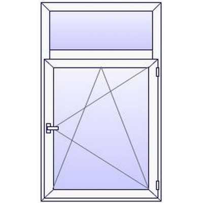 P13PN Fenetre PVC 1 vantail+Imposte vitre haute