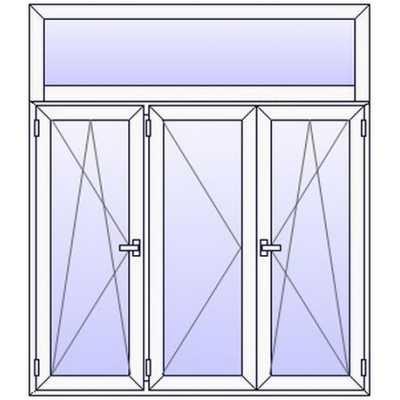 P162PN Fenetre PVC 3 vtx+Imposte vitre haute