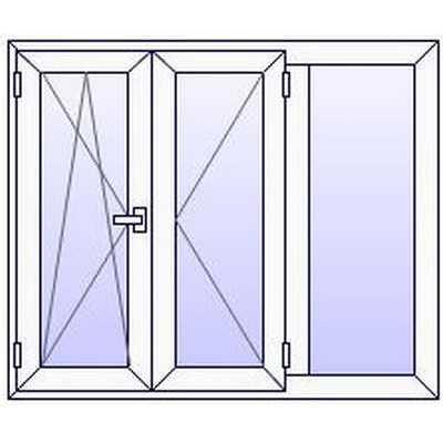 Fenetre PVC 3 vantaux avec 1 fixe (à partir de)